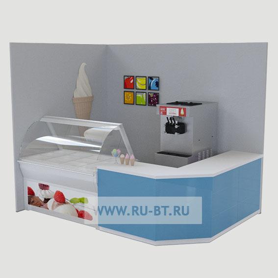 витрина, торгоавя стойка и аппарат для мороженого